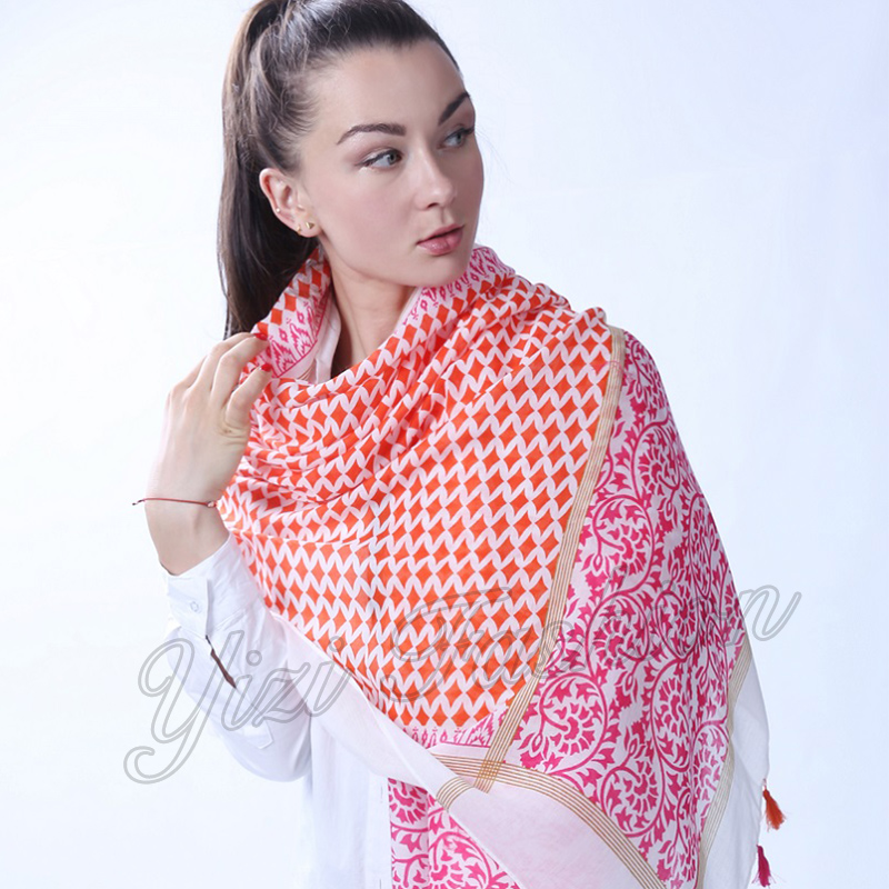 Solid Color Geometric Pattern Oblong Scarf with Tassel