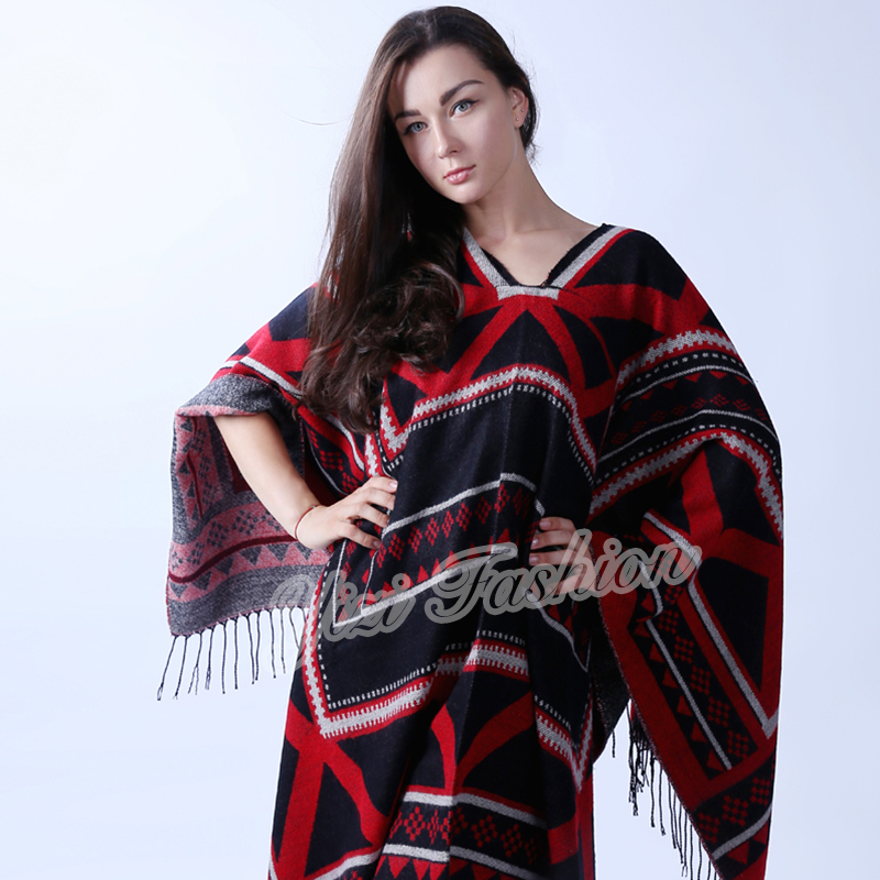 Women Classic Warm Poncho With Tassels